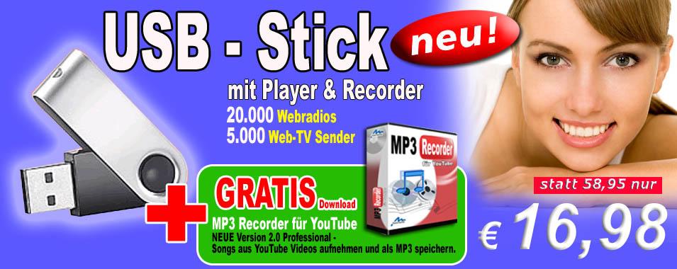 usb stick mit player recorder gratis mp3 recorder f r youtube nur 16 98 euro. Black Bedroom Furniture Sets. Home Design Ideas